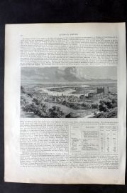 Blackie 1882 Antique Print. Valley of the Danube at Pressburg, Slovakia